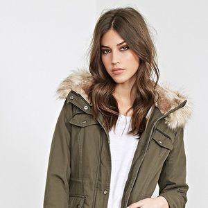 Green Drawstring Fleece Utility Jacket
